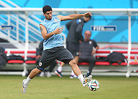 Luis Suarez of Uruguay during training ahead of tomorrow's Group D fixture vs Italy