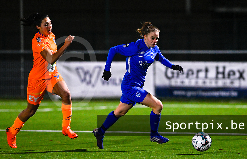 Luna Vanhoudt (43) of KRC Genk pictured in front of Jolet Lommen (9) of AA Gent during a female soccer game between  Racing Genk Ladies and AA Gent Ladies on the eleventh matchday of the 2020 - 2021 season of Belgian Scooore Womens Super League , friday 22 th of January 2021  in Genk , Belgium . PHOTO SPORTPIX.BE | SPP | DAVID CATRY