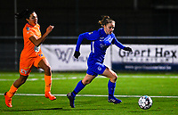Luna Vanhoudt (43) of KRC Genk pictured in front of Jolet Lommen (9) of AA Gent during a female soccer game between  Racing Genk Ladies and AA Gent Ladies on the eleventh matchday of the 2020 - 2021 season of Belgian Scooore Womens Super League , friday 22 th of January 2021  in Genk , Belgium . PHOTO SPORTPIX.BE   SPP   DAVID CATRY