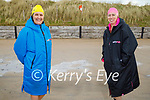 Ready to take the plunge in Banna beach on Sunday, l to r: Angela Ryan and Deirdre Courtney