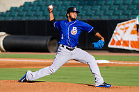 Biloxi Shuckers pitcher Marcos Diplan (12) delivers a pitch during a Southern League game against the Jackson Generals on July 27, 2018 at The Ballpark at Jackson in Jackson, Tennessee. Biloxi defeated Jackson 15-7. (Brad Krause/Four Seam Images)