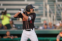 Modesto Nuts first baseman Evan White (18) at bat during a California League game against the Lake Elsinore Storm at John Thurman Field on May 11, 2018 in Modesto, California. Modesto defeated Lake Elsinore 3-1. (Zachary Lucy/Four Seam Images)