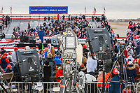 Television cameras are seen on the press riser at a Make America Great Again Victory Rally in the final week before the Nov. 3 election at Pro Star Aviation in Londonderry, New Hampshire, on Sun., Oct. 25, 2020.