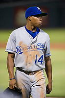 AZL Royals left fielder Tyler James (14) walks off the field between innings of the game against the AZL Cubs on July 19, 2017 at Sloan Park in Mesa, Arizona. AZL Cubs defeated the AZL Royals 5-4. (Zachary Lucy/Four Seam Images)
