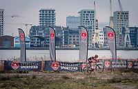 Denise Betsema (NED/Pauwels Sauzen-Bingoal) riding against the City of Antwerp backdrop<br /> <br /> 2020 Scheldecross Antwerp (BEL)<br /> <br /> ©kramon
