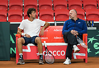 The Hague, The Netherlands, September 11, 2017,  Sportcampus , Davis Cup Netherlands - Chech Republic, training, Robin Haase (NED) with coach Raymond Knaap (NED)<br /> Photo: Tennisimages/Henk Koster