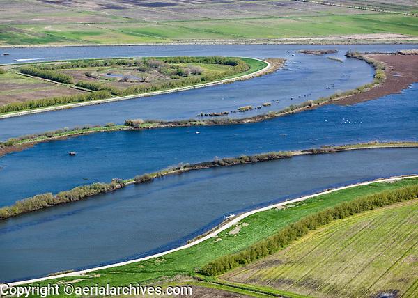 aerial photograph of deteriorating levees at Frank's Tract, Sacramento San Joaquin river delta, California