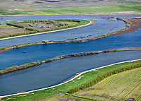 aerial photograph of deteriorating levees at Frank's Tract, Sacramento San Joaquin river delta, California