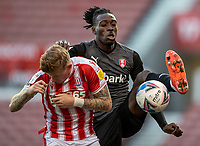 31st October 2020; Bet365 Stadium, Stoke, Staffordshire, England; English Football League Championship Football, Stoke City versus Rotherham United; Freddie Ladapo of Rotherham United high kicks the ball