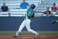 Sam Zayicek (23) (High Point) of the Mooresville Spinners follows through on his swing against the Concord A's at Moor Park on July 31, 2020 in Mooresville, NC. The Spinners defeated the Athletics 6-3 in a game called after 6 innings due to rain. (Brian Westerholt/Four Seam Images)