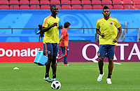 KAZAN - RUSIA, 23-06-2018: Cristian ZAPATA y Miguel BORJA jugadores de Colombia, durante entrenamiento en Kazan Arena previo al encuentro del Grupo previo al encuentro del grupo H  con Polonia como parte de la Copa Mundo FIFA 2018 Rusia. / Cristian ZAPATA and Miguel BORJA players of Colombia during training session in KazanArena prior the group H match with Poland as part of the 2018 FIFA World Cup Russia. Photo: VizzorImage / Julian Medina / Cont