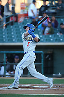 Drew Jackson (5) of the Rancho Cucamonga Quakes bats against the Lancaster JetHawks at The Hanger on April 20, 2017 in Lancaster, California. Lancaster defeated Rancho Cucamonga 4-0. (Larry Goren/Four Seam Images)