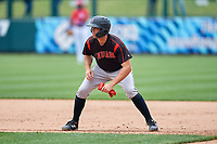 Indianapolis Indians Eric Wood (14) leads off first base during an International League game against the Buffalo Bisons on June 20, 2019 at Sahlen Field in Buffalo, New York.  Buffalo defeated Indianapolis 11-8  (Mike Janes/Four Seam Images)