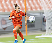 HOUSTON, TX - SEPTEMBER 10: Gabby Seiler #5 of the Houston Dash chases after a loose ball during a game between Chicago Red Stars and Houston Dash at BBVA Stadium on September 10, 2021 in Houston, Texas.