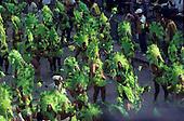 Rio de Janeiro, Brazil. Mangueira carnival parade; acid green costumes.
