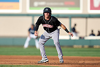 Jupiter Hammerheads Keegan Fish (1) leads off first base during a game against the Lakeland Flying Tigers on July 30, 2021 at Joker Marchant Stadium in Lakeland, Florida.  (Mike Janes/Four Seam Images)