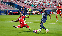 23rd August 2020, Estádio da Luz, Lison, Portugal; UEFA Champions League final, Paris St Germain versus Bayern Munich; Neymar (PSG) crosses in front of the block of David Alaba (Munich)
