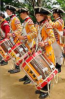 Fifer and drummers of the Tenth Regiment of Foot play at a Revolutionary War encampment, Old Sturbridge Village, Massachusetts, USA.