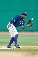 Northwest Arkansas Naturals second baseman Ruben Sosa (4) waits to receive a throw during a game against the Midland RockHounds on May 27, 2017 at Arvest Ballpark in Springdale, Arkansas.  NW Arkansas defeated Midland 3-2.  (Mike Janes/Four Seam Images)