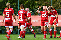 Aster Janssens (5) of Standard and Loredana Humartus (3) of Standard walk towards Davinia Vanmechelen (10) of Standard  to congratulate for her goal during a female soccer game between Standard Femina de Liege and Eendracht Aalst dames on the fourth matchday in the 2021 - 2022 season of the Belgian Scooore Womens Super League , Saturday 11 th of September 2021  in Angleur , Belgium . PHOTO SPORTPIX | BERNARD GILLET