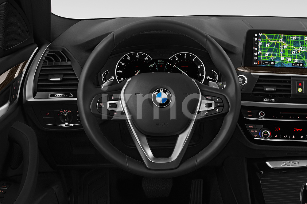 Car pictures of steering wheel view of a 2019 BMW X3 Base 5 Door SUV