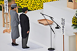 Japan's Emperor Naruhito(R) and Empress Masako offer a silent prayer during the memorial service for the war dead of World War II marking the 75th anniversary in Tokyo, Japan on August 15, 2020. (Photo by AFLO)
