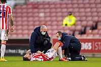 19th December 2020; Bet365 Stadium, Stoke, Staffordshire, England; English Football League Championship Football, Stoke City versus Blackburn Rovers; Nick Powell of Stoke City receives injury treatement