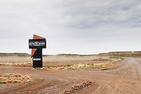 The entrance to the winery with sign Bodega Del Fin Del Mundo - The End of the World - Neuquen, Patagonia, Argentina, South America