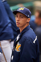 Montgomery Biscuits Blake Snell in the dugout during a game against the Jackson Generals on April 29, 2015 at Riverwalk Stadium in Montgomery, Alabama.  Jackson defeated Montgomery 4-3.  (Mike Janes/Four Seam Images)