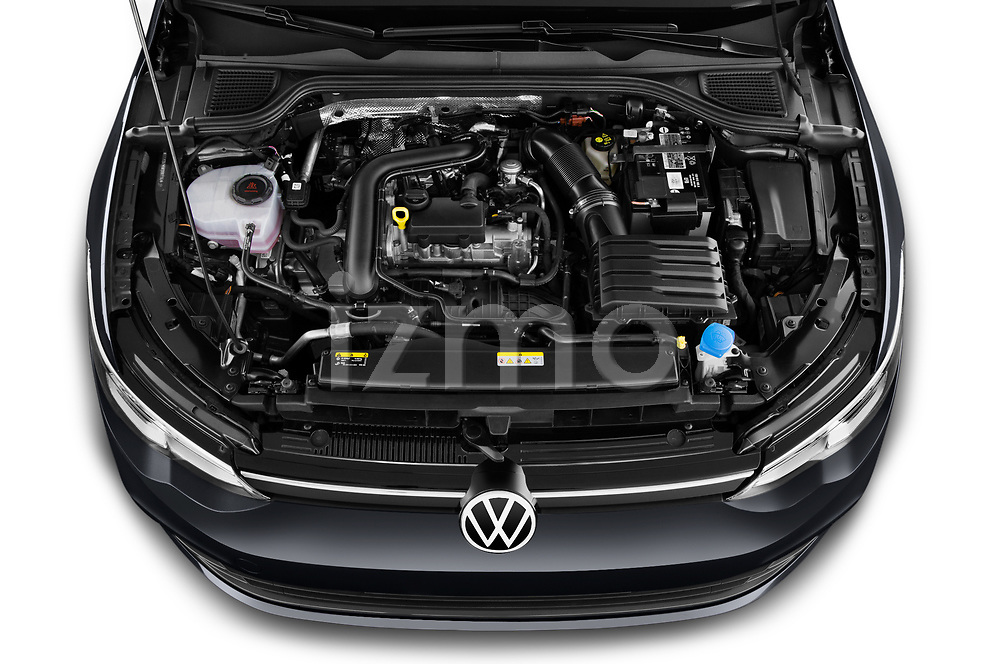Car Stock 2021 Volkswagen Golf-Variant Life-HEV 5 Door Wagon Engine  high angle detail view