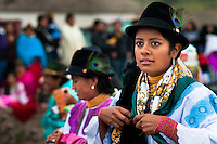 """A girl, wearing a colorful clothes, dances in a procession during the Inti Raymi celebration in Pichincha province, Ecuador, 27 June 2010. Inti Raymi, """"Festival of the Sun"""" in Quechua language, is an ancient spiritual ceremony held in the Indian regions of the Andes, mainly in Ecuador and Peru. The lively celebration, set by the winter solstice, goes on for various days. The highland Indians, wearing beautiful costumes, dance, drink and sing with no rest. Colorful processions in honor of the God Inti (Sun) pass through the mountain villages giving thanks for the harvest and expressing their deep relation to the Mother Earth (Pachamama)."""
