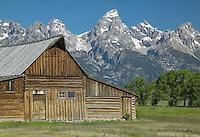 Thomas Alma Moulton barn on Mormon Row with the Teton Range in the background, Grand Teton National Park