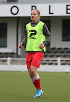 Martyna Rakowicz of Woluwe warms up before a female soccer game between Oud Heverlee Leuven and Femina White Star Woluwe  on the 5 th matchday of the 2020 - 2021 season of Belgian Womens Super League , Sunday 18 th of October 2020  in Heverlee , Belgium . PHOTO SPORTPIX.BE   SPP   SEVIL OKTEM