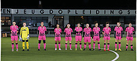 Charleroi players with Noemie Fourdin , goalkeeper Ambre Collet , Madison Hudson , Jessica Silva Valdebenito , Chrystal Lermusiaux , <br />  Julie Challe , Megane Vos , Ines Dhaou , Renate-Ly Mehevets , Ludmila Matavkova and Ylenia Carabott  pictured at the line up at the start of a female soccer game between Oud Heverlee Leuven and Sporting de Charleroi on the seventh matchday of the 2020 - 2021 season of Belgian Womens Super League , sunday 15 th of November 2020  in Heverlee , Belgium . PHOTO SPORTPIX.BE | SPP | SEVIL OKTEM