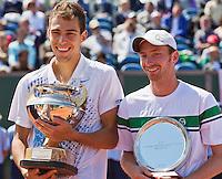 15-07-12, Netherlands,Tennis, ITS, HealthCity Open, Scheveningen, Final  Matwe Middelkoop, runner up and winner   Jerzy Janowicz (L)