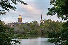 October 12, 2021; A view of campus from St. Joseph Lake during early autumn. (Photo by Barbara Johnston/University of Notre Dame)