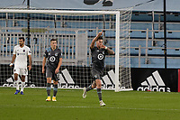 ST PAUL, MN - NOVEMBER 4: Jose Aja #4 of Minnesota United FC celebrates a goal during a game between Chicago Fire and Minnesota United FC at Allianz Field on November 4, 2020 in St Paul, Minnesota.