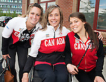 Calgary, AB - June 5 2014 - Sonja Gaudet poses for a photo with Women's National Hockey Team members Marie-Philip Poulin and Rebecca Johnston during the Celebration of Excellence Heroes Tour visit to Ronald McDonald House in Calgary. (Photo: Matthew Murnaghan/Canadian Paralympic Committee)