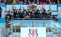 Monday 19th March 2018    Ulster Schools Cup Final 2018<br /> <br /> John McKee and his Campbell team with the famous trophy after the 2018 Ulster Schools Cup Final between the Royal School Armagh and Campbell College at Kingspan Stadium, Ravenhill Park, Belfast, Northern Ireland. Photo by John Dickson / DICKSONDIGITAL