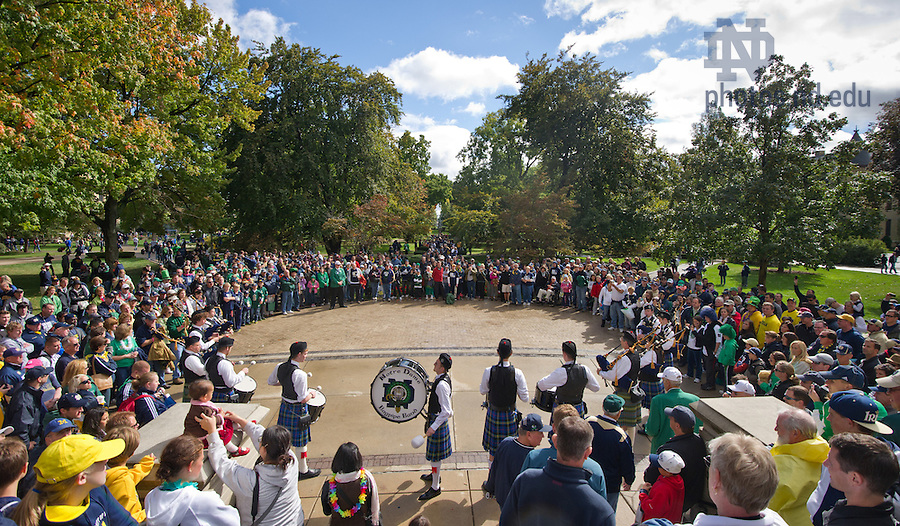Sept. 22, 2012; The Notre Dame Bagpipe Band performs on the Main Building Steps...Photo by Matt Cashore/University of Notre Dame