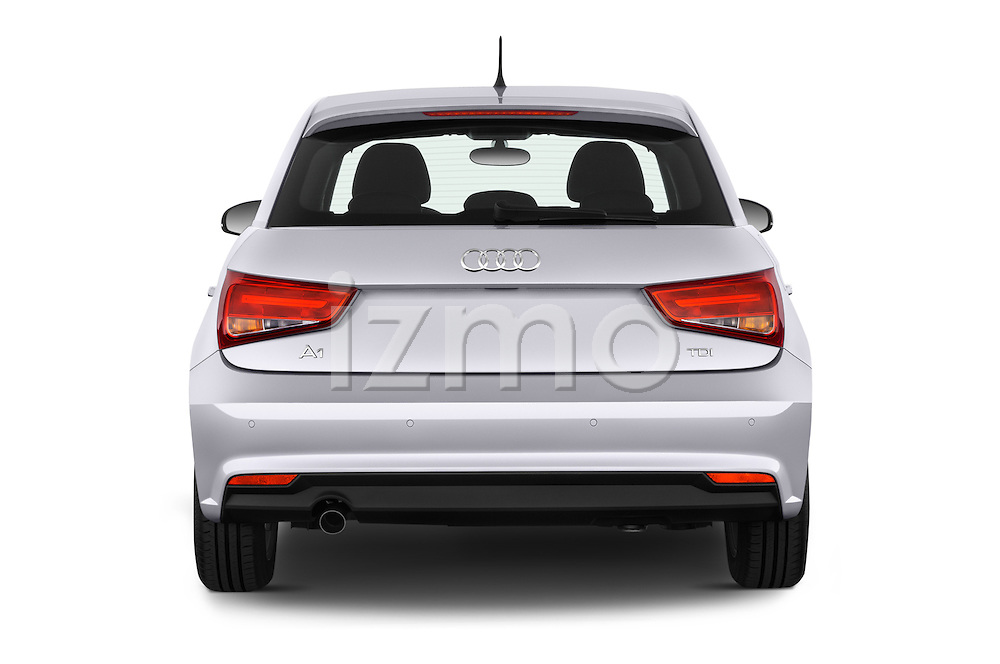 Straight rear view of 2015 Audi A1 Sportback 5 Door Hatchback Rear View  stock images