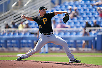 Pittsburgh Pirates pitcher Mitch Keller (23) during a Major League Spring Training game against the Toronto Blue Jays on March 1, 2021 at TD Ballpark in Dunedin, Florida.  (Mike Janes/Four Seam Images)