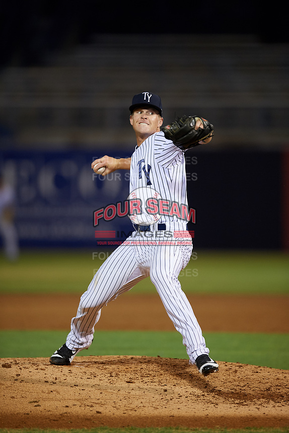 Tampa Yankees relief pitcher Hobie Harris (26) delivers a pitch during a game against the Fort Myers Miracle on April 12, 2017 at George M. Steinbrenner Field in Tampa, Florida.  Tampa defeated Fort Myers 3-2.  (Mike Janes/Four Seam Images)