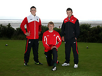 Pictured L-R: Marcos Painter, unknown and Matthew (Matty) Collins<br /> Re: Swansea City Football Club new kit presentation at Machybys Golf Club near Llanelli west Wales. Tuesday 23 June 2009<br /> Picture by D Legakis Photography / Athena Picture Agency, 24 Belgrave Court, Swansea, SA1 4PY, 07815441513