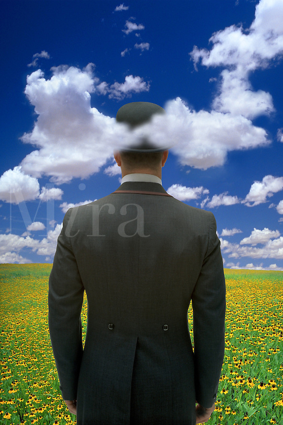 Digital illustration of a man in bowler hat standing in a field with his head in the clouds.