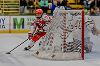 29 December 2018: Rensselaer Engineer Forward Patrick Polino, a Junior from Buffalo, NY, attempts a wrap-around play in the first period against the University of Vermont Catamounts at Gutterson Fieldhouse in Burlington, Vermont. The Catamounts rallied from a 2-0 deficit to defeat RPI 4-2 and win the annual Catamount Cup Tournament. Mandatory Credit: Ed Wolfstein Photo *** RAW (NEF) Image File Available ***