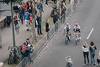 World Champion Peter Sagan (SVK/Bora-Hansgrohe) & Alberto Contador (ESP/Trek-Segafredo) catching up on their way to the start<br /> <br /> 104th Tour de France 2017<br /> Stage 2 - Düsseldorf › Liège (203.5km)