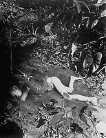 Atrocity committed by the Japs on 9 April 1945 at Bingas, Luzon, Philippine Islands.  Child laying in mud of creek.  April 11, 1945.  T5c. J. Jepson.  (Army)<br /> NARA FILE #:  111-SC-212513<br /> WAR & CONFLICT BOOK #:  1251