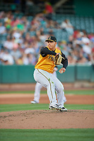 Salt Lake Bees starting pitcher Jose Suarez (18) delivers a pitch to the plate against the New Orleans Baby Cakes at Smith's Ballpark on June 11, 2018 in Salt Lake City, Utah. New Orleans defeated Salt Lake 6-5.  (Stephen Smith/Four Seam Images)