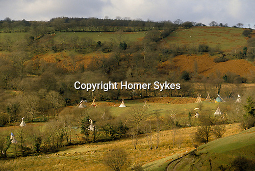 TeePee Valley near LLandeilo Wales UK. Hippy alternative Life style. 120 people live here through the year.